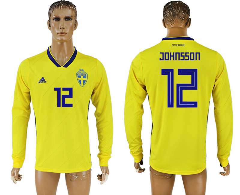 Men 2018 World Cup Sweden home long sleeve aaa version 12 yellow soccer jersey