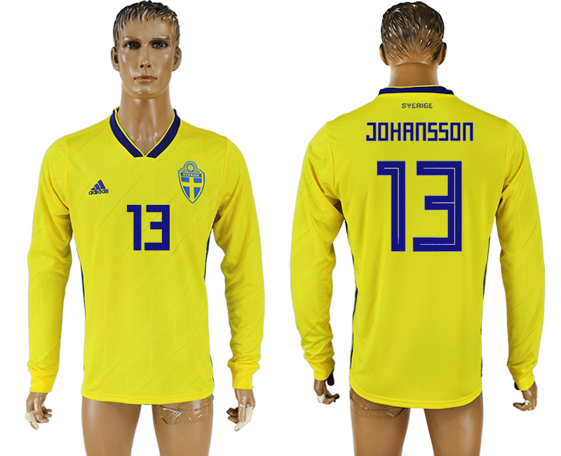 Men 2018 World Cup Sweden home long sleeve aaa version 13 yellow soccer jersey