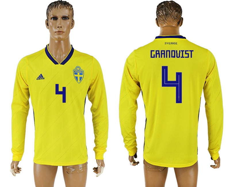 Men 2018 World Cup Sweden home long sleeve aaa version 4 yellow soccer jersey