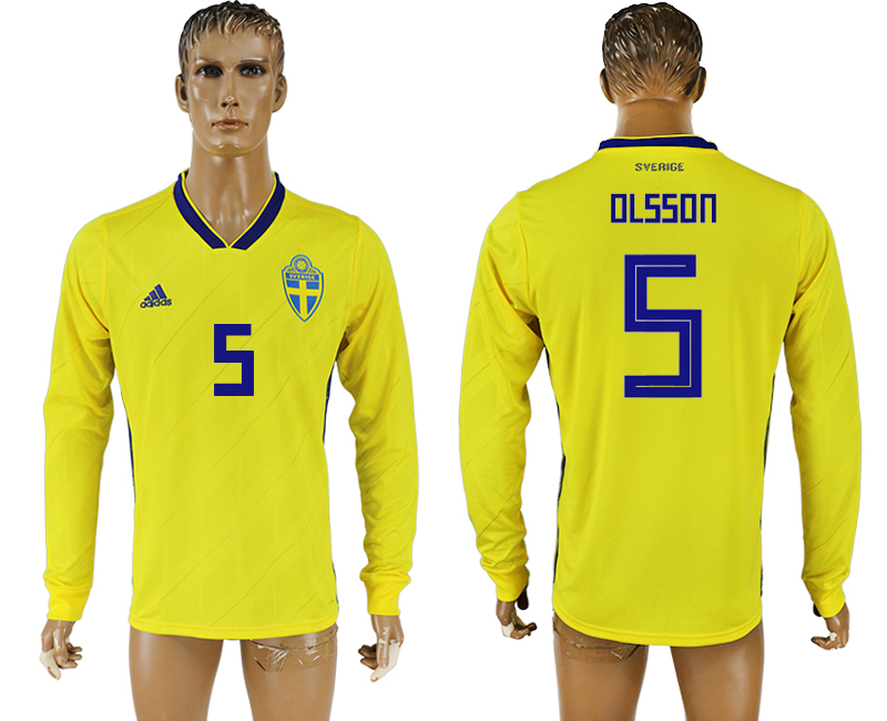 Men 2018 World Cup Sweden home long sleeve aaa version 5 yellow soccer jersey