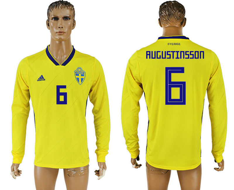 Men 2018 World Cup Sweden home long sleeve aaa version 6 yellow soccer jersey