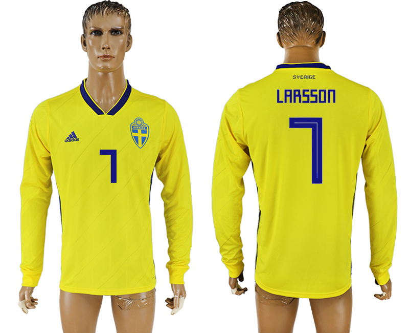 Men 2018 World Cup Sweden home long sleeve aaa version 7 yellow soccer jersey