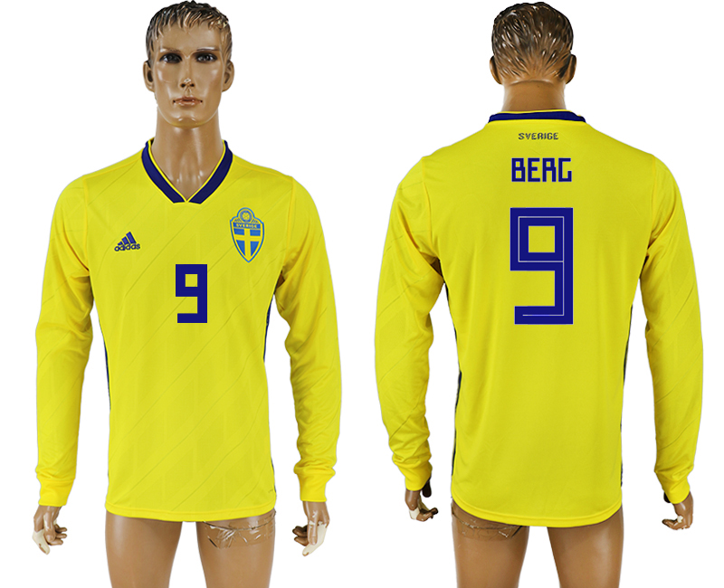 Men 2018 World Cup Sweden home long sleeve aaa version 9 yellow soccer jersey