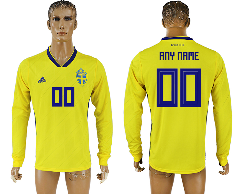 Men 2018 World Cup Sweden home long sleeve aaa version customized yellow soccer jersey