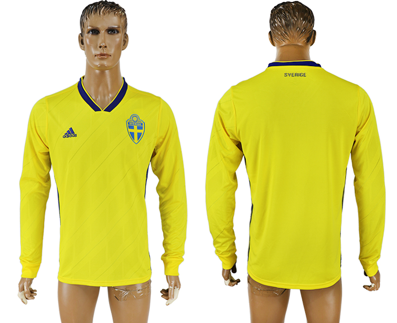 Men 2018 World Cup Sweden home long sleeve aaa version yellow soccer jersey