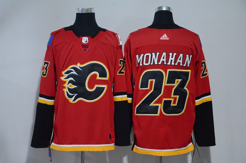 Men Calgary Flames 23 Monahan Red Hockey Stitched Adidas NHL Jerseys