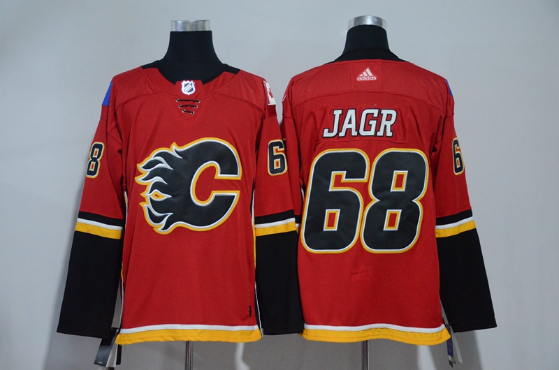 Men Calgary Flames 68 Jagr Red Hockey Stitched Adidas NHL Jerseys