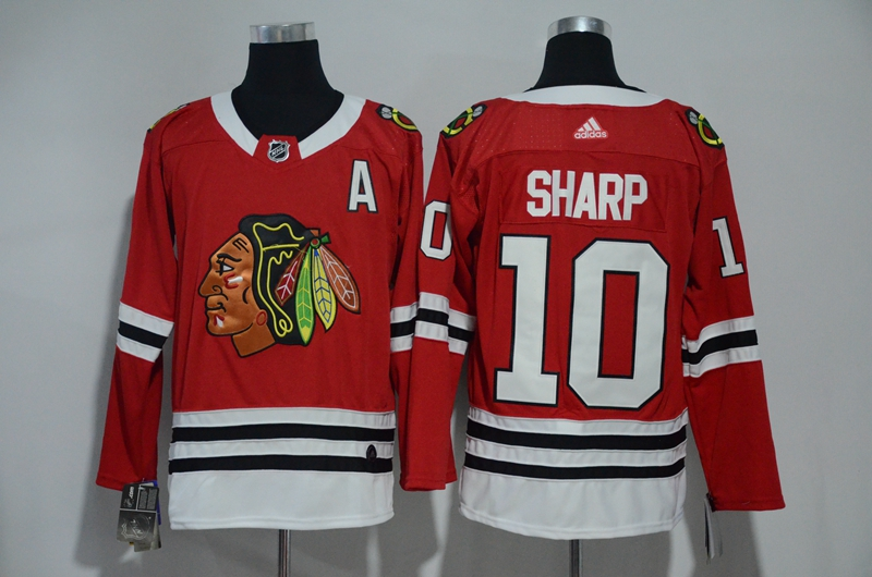 Men Chicago Blackhawks 10 Sharp Red Hockey Stitched Adidas NHL Jerseys