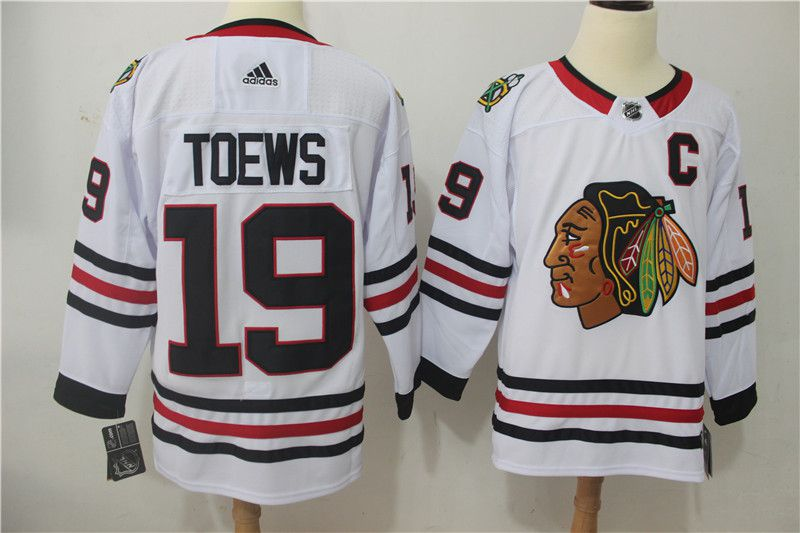 Men Chicago Blackhawks 19 Toews white Adidas Hockey Stitched NHL Jerseys