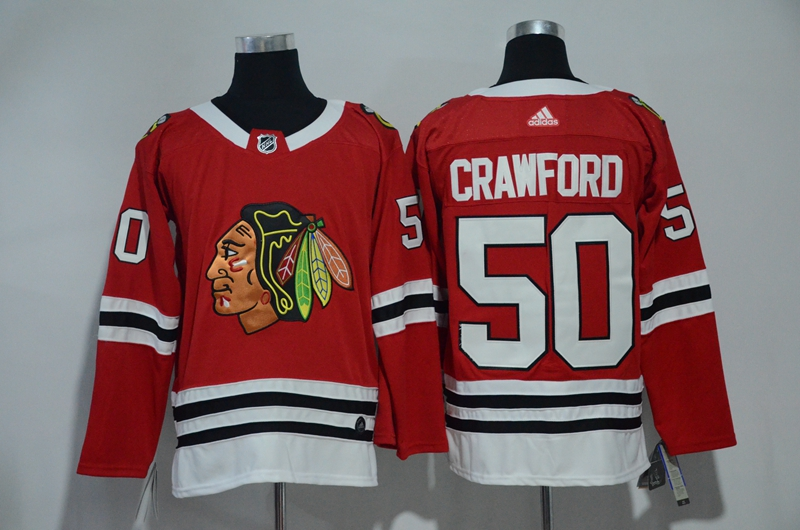 Men Chicago Blackhawks 50 Crawford Red Hockey Stitched Adidas NHL Jerseys
