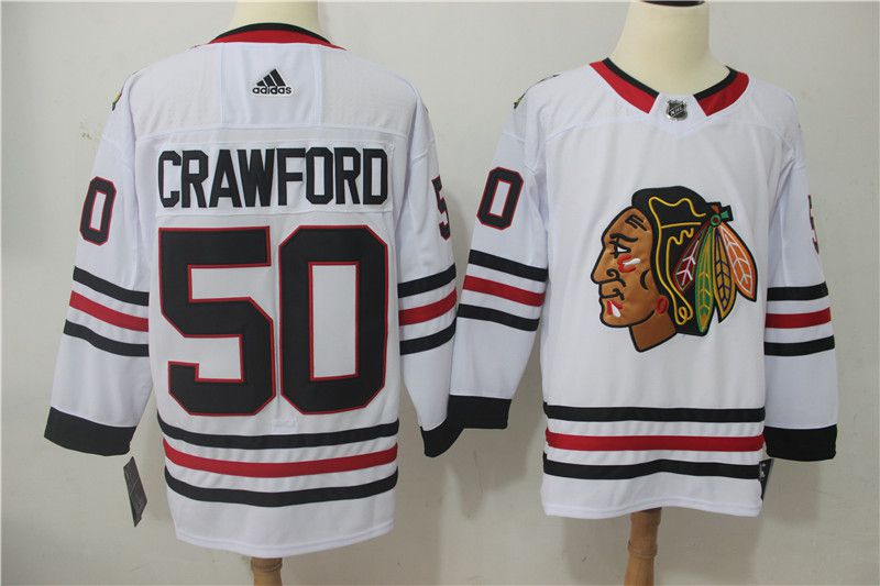 Men Chicago Blackhawks 50 Crawford white Hockey Stitched Adidas NHL Jerseys