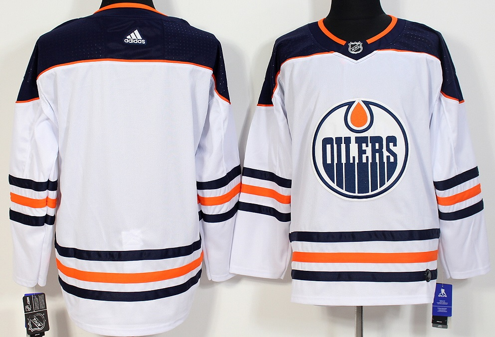 Men Edmonton Oilers Blank White Hockey Stitched Adidas NHL Jerseys