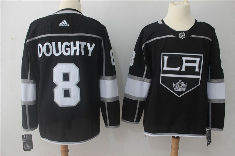 Men Los Angeles Kings 8 Doughty Black Adidas Hockey Stitched NHL Jerseys