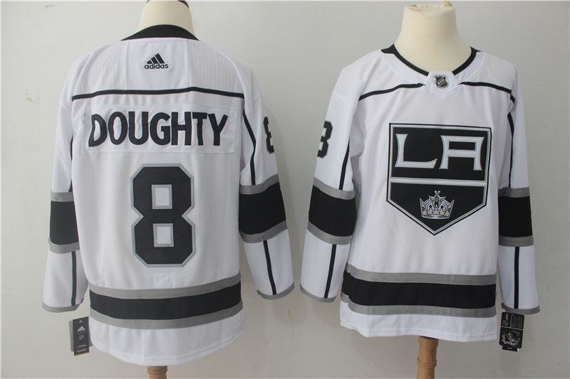 Men Los Angeles Kings 8 Doughty white Adidas Hockey Stitched NHL Jerseys