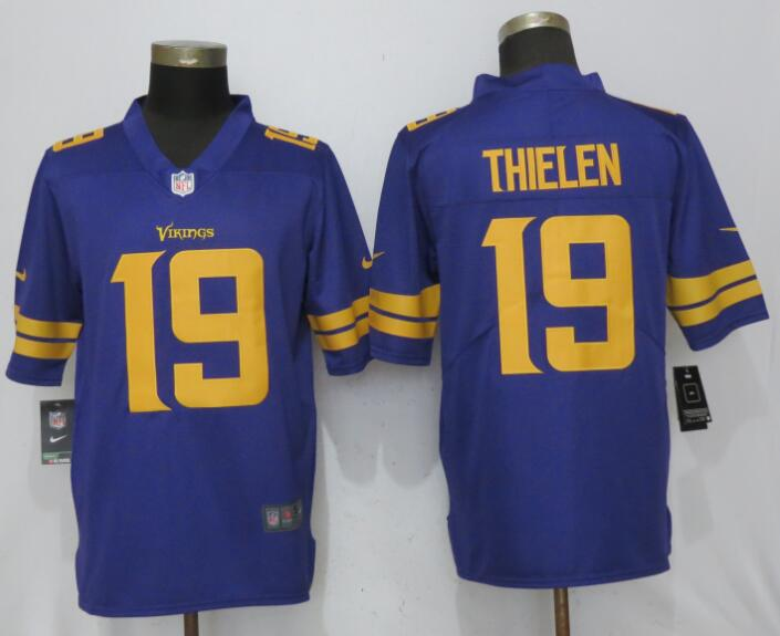 Men Minnesota Vikings 19 Thielen Navy Purple Color Rush Limited Nike NFL Jerseys