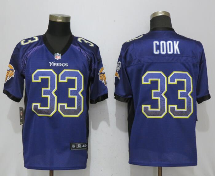 Men Minnesota Vikings 33 C00k Drift Fashion Purple Nike Elite Jersey