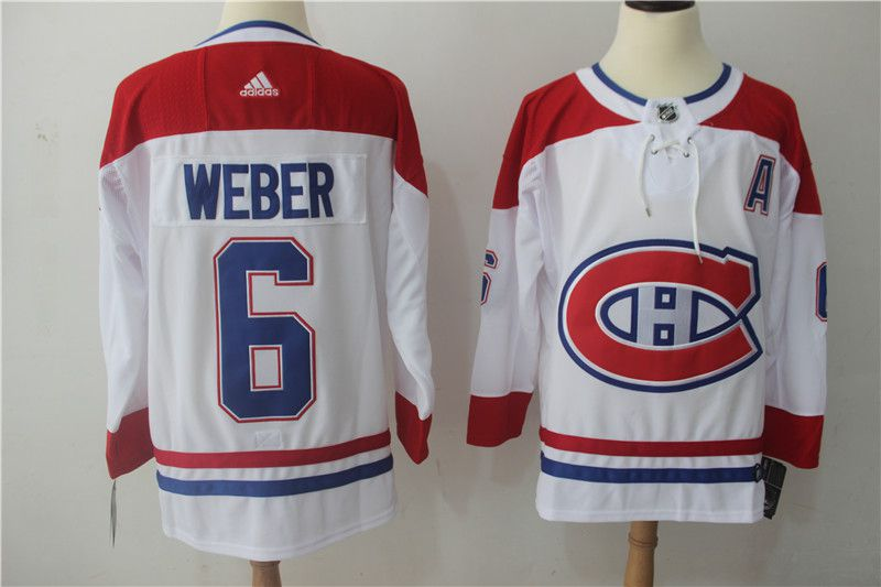 Men Montreal Canadiens 6 Weber white Adidas Hockey Stitched NHL Jerseys