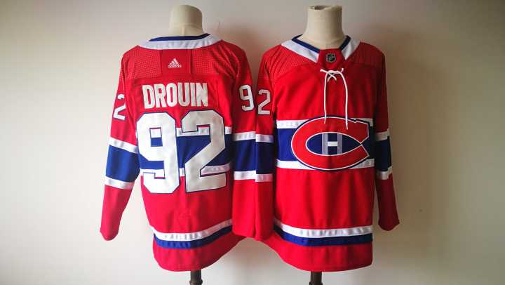 Men Montreal Canadiens 92 Drouin Red Hockey Stitched Adidas NHL Jerseys