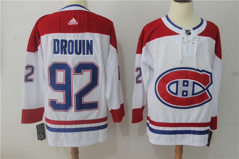 Men Montreal Canadiens 92 Drouin White Hockey Stitched Adidas NHL Jerseys