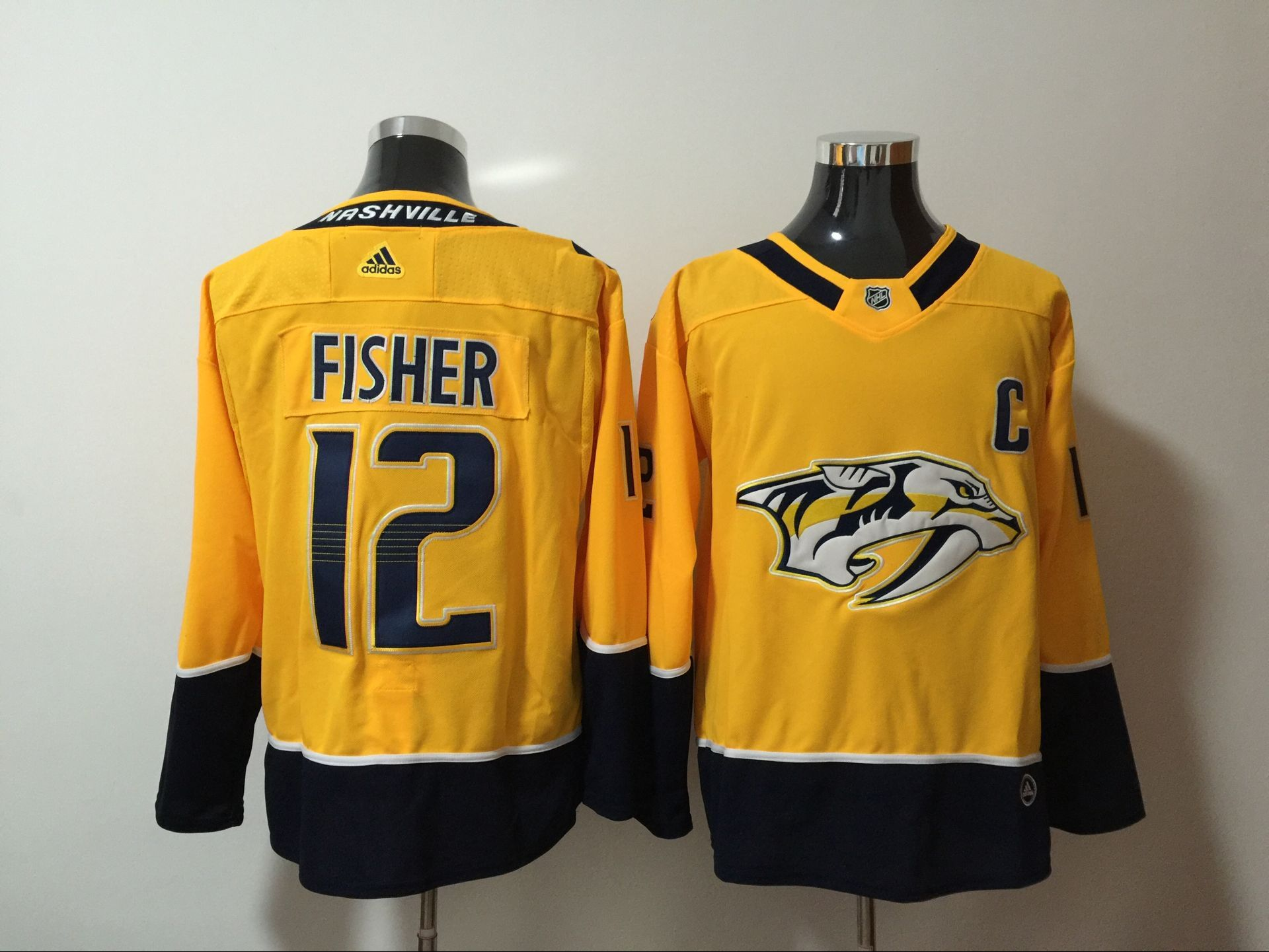 Men Nashville Predators 12 Fisher Yellow Hockey Stitched Adidas NHL Jerseys