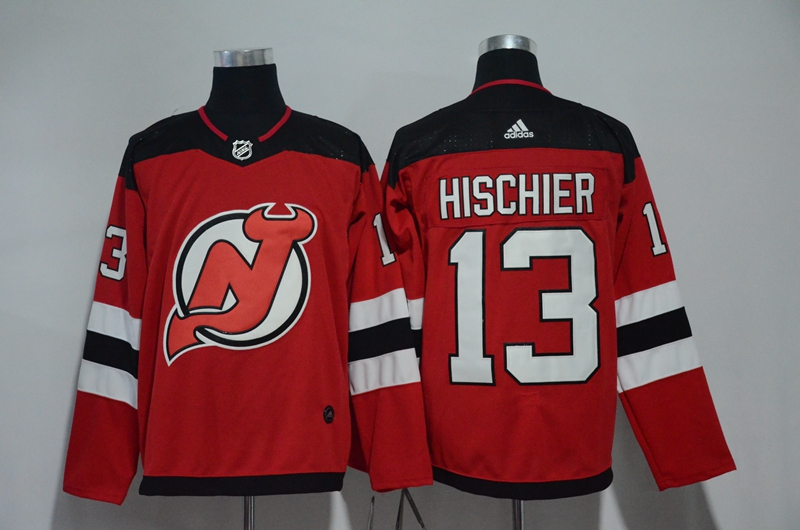 Men New Jersey Devils 13 Hischier Red Hockey Stitched Adidas NHL Jerseys