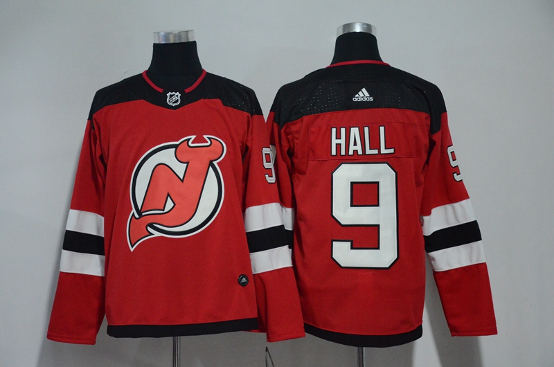 Men New Jersey Devils 9 Hall Red Hockey Stitched Adidas NHL Jerseys
