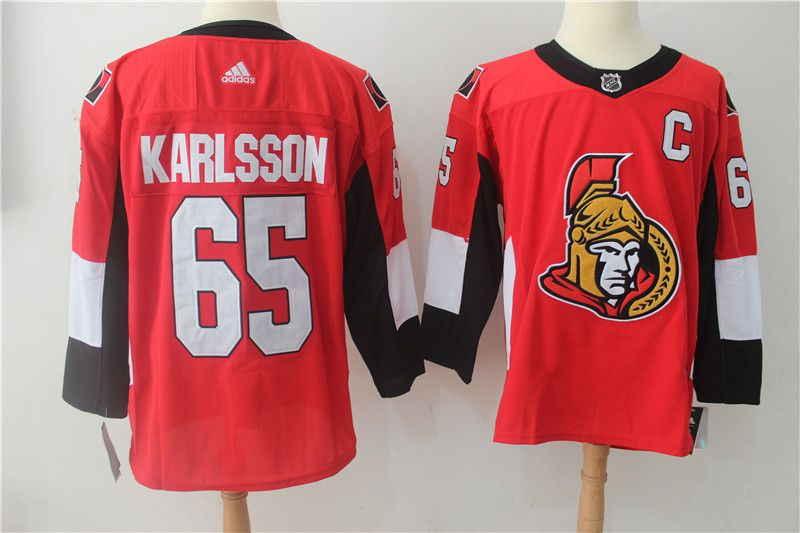 Men Ottawa Senators 65 Erik Karlsson red Adidas Hockey Stitched NHL Jerseys