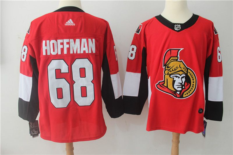 Men Ottawa Senators 68 Hoffman red Adidas Hockey Stitched NHL Jerseys