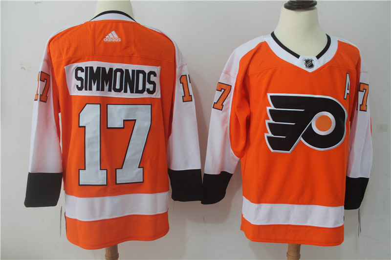 Men Philadelphia Flyers 17 Simmonds Orange Hockey Stitched Adidas NHL Jerseys