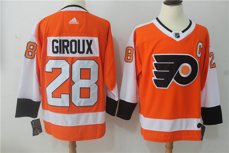 Men Philadelphia Flyers 28 Giroux Orange Hockey Stitched Adidas NHL Jerseys