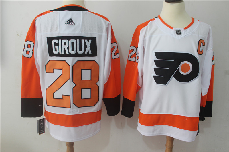 Men Philadelphia Flyers 28 Giroux White Hockey Stitched Adidas NHL Jerseys