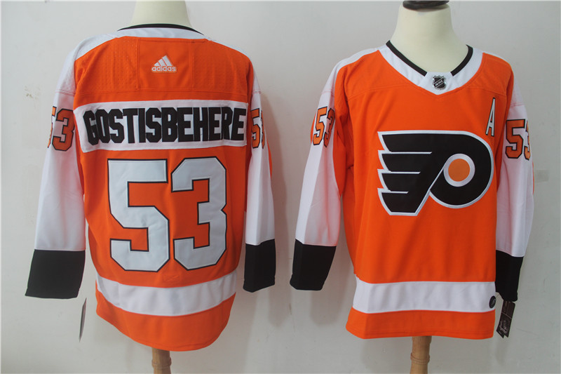 Men Philadelphia Flyers 53 Gostisbehere Orange Hockey Stitched Adidas NHL Jerseys