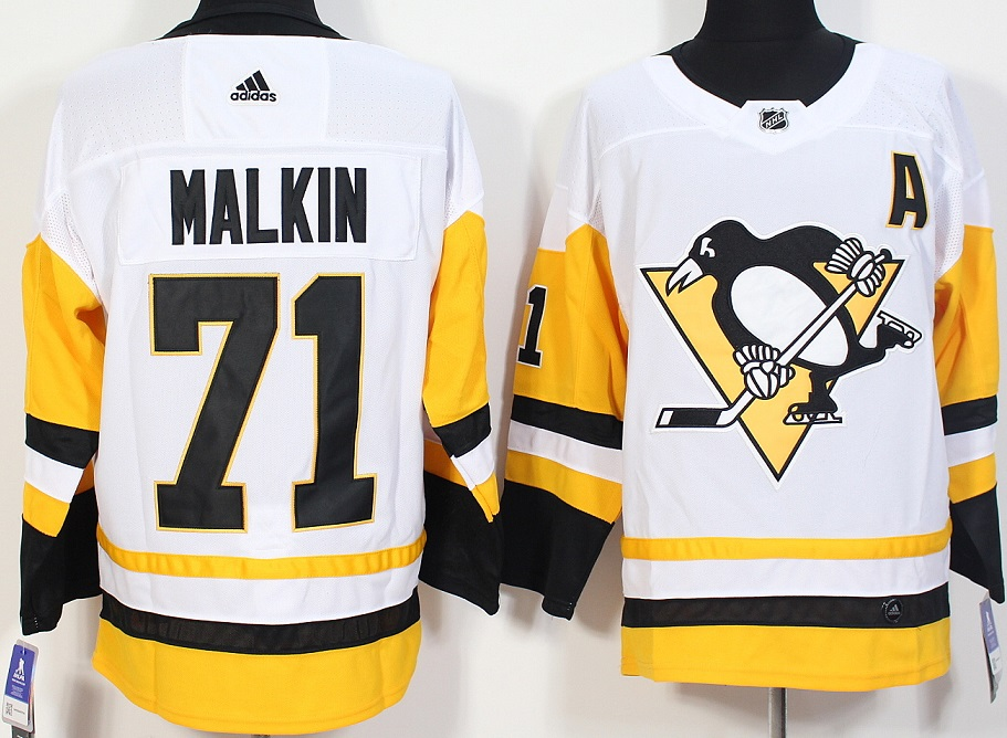 Men Pittsburgh Penguins 71 Malkin White Hockey Stitched Adidas NHL Jerseys