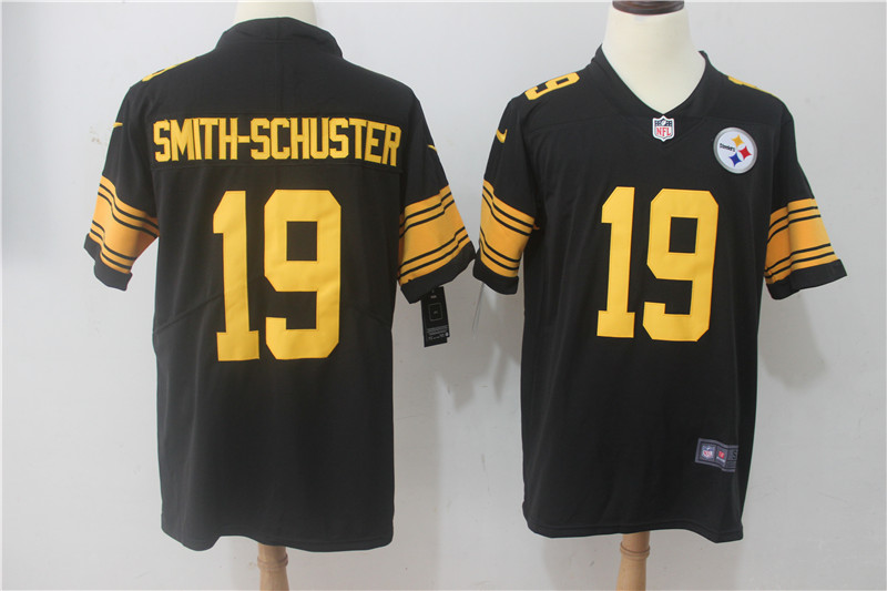 Men Pittsburgh Steelers 19 Smith-Schuster Black Yellow Nike Vapor Untouchable Limited NFL Jerseys