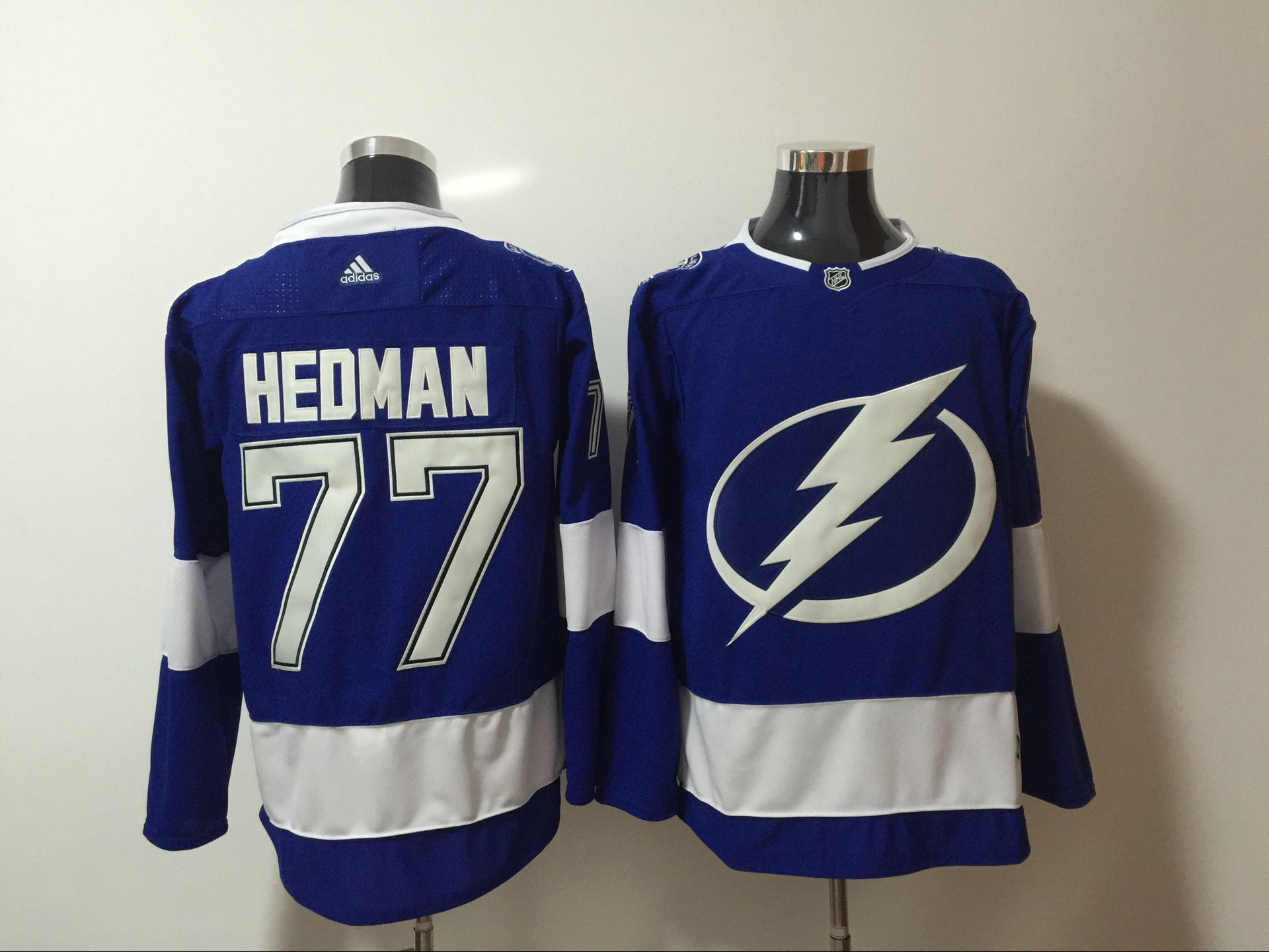 Men Tampa Bay Lightning 77 Hedman Blue Hockey Stitched Adidas NHL Jerseys