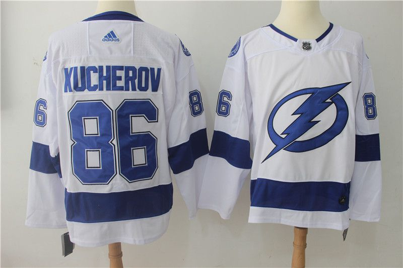 Men Tampa Bay Lightning 86 Kucherov white Adidas Hockey Stitched NHL Jerseys