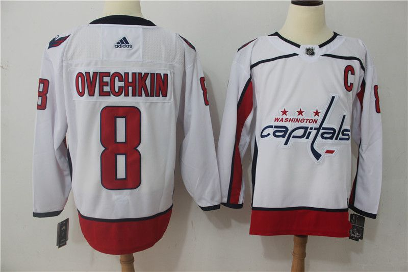 Men Washington Capitals 8 Ovechkin white Adidas Hockey Stitched NHL Jerseys