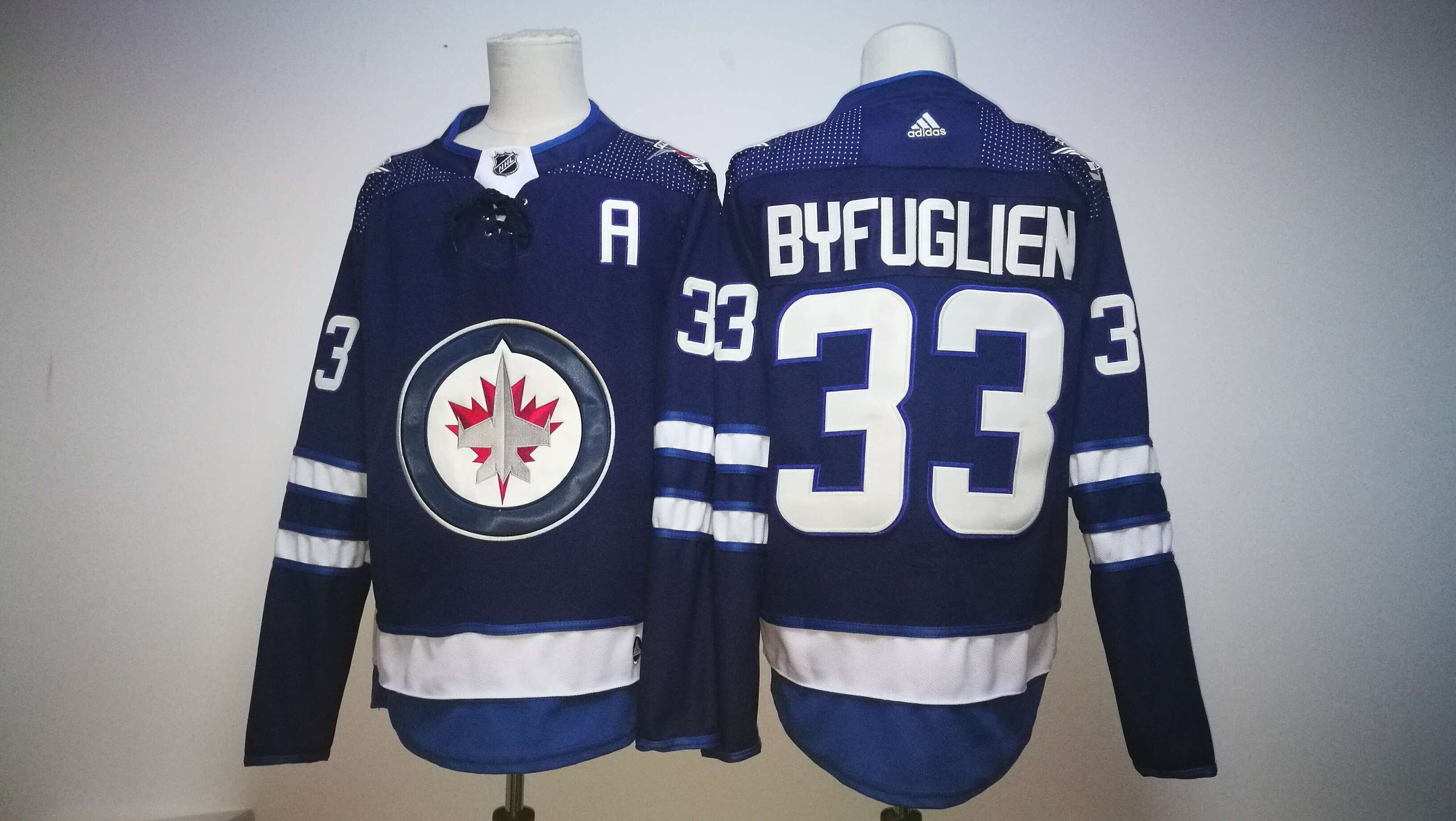 Men Winnipeg Jets 33 Dustin Byfuglien Blue Hockey Stitched Adidas NHL Jerseys