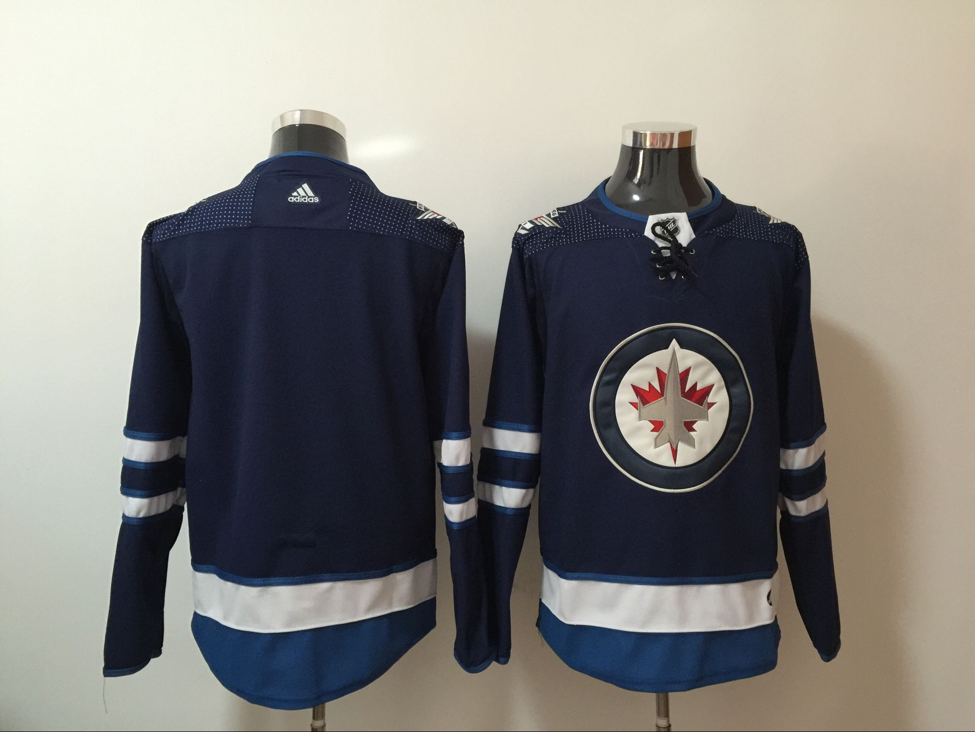 Men Winnipeg Jets Blank Blue Hockey Stitched Adidas NHL Jerseys