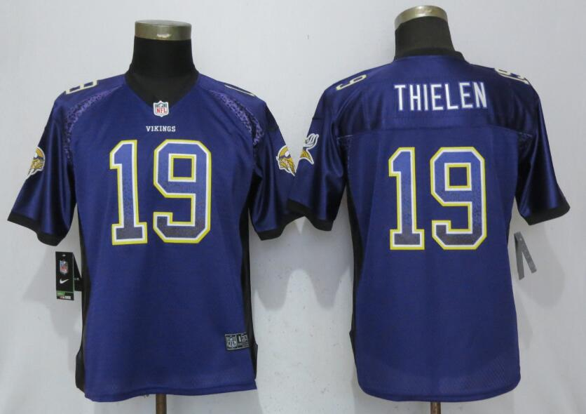 Women Minnesota Vikings 19 Thielen Drift Fashion Purple Nike Elite Jersey