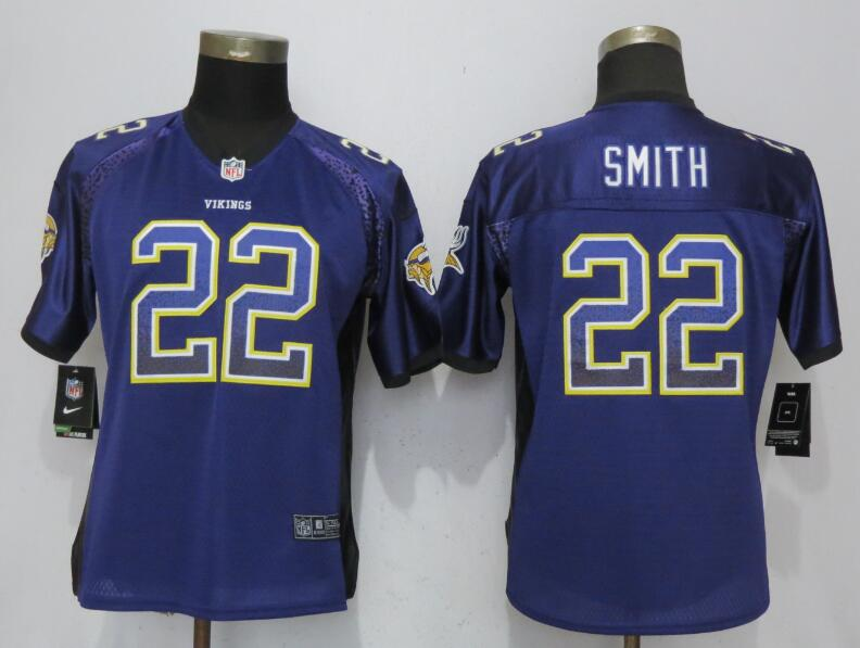 Women Minnesota Vikings 22 Smith Drift Fashion Purple Nike Elite Jersey