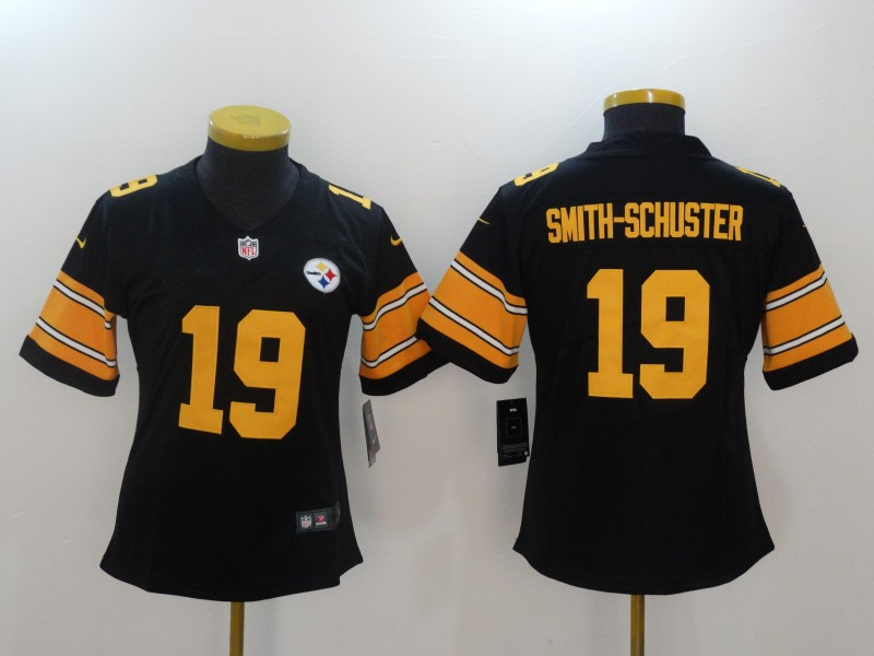 Women Pittsburgh Steelers 19 Smith-Schuster Black Yellow Nike Vapor Untouchable Limited NFL Jerseys