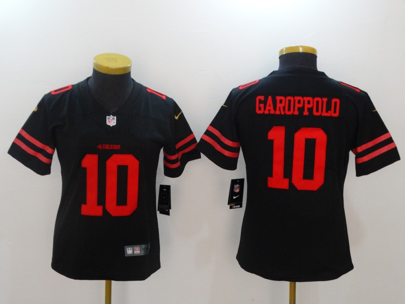 Women San Francisco 49ers 10 Garoppolo Black Nike Vapor Untouchable Limited NFL Jerseys