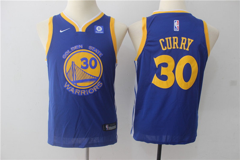 Youth Golden State Warriors 30 Curry Blue Game Nike NBA Jerseys