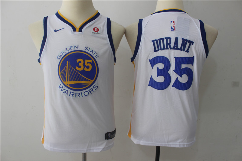 Youth Golden State Warriors 35 Durant White Game Nike NBA Jerseys