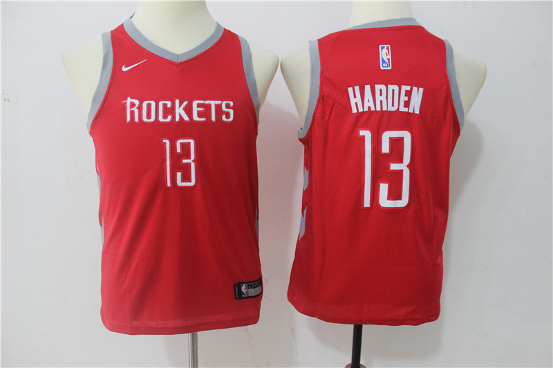 Youth Houston Rockets 13 Harden Red Game Nike NBA Jerseys