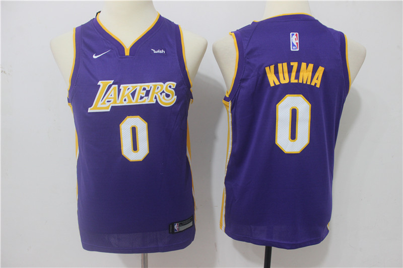Youth Los Angeles Lakers 0 Kuzma Purple Game Nike NBA Jerseys