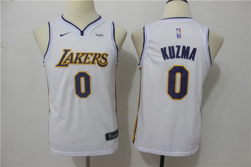 Youth Los Angeles Lakers 0 Kuzma White Game Nike NBA Jerseys