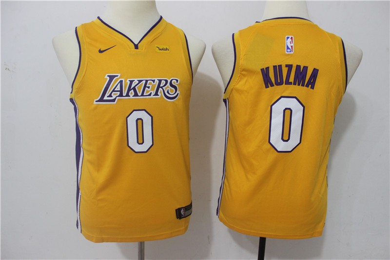 Youth Los Angeles Lakers 0 Kuzma Yellow Game Nike NBA Jerseys