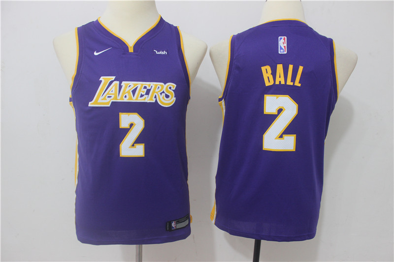 Youth Los Angeles Lakers 2 Ball Purple Game Nike NBA Jerseys